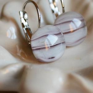Lila-fehér üveggolyó - francia kapcsos üveg fülbevaló - ékszer - fülbevaló - lógó fülbevaló - Meska.hu