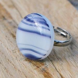 Blue stripes üveg gyűrű, Ékszer, Statement gyűrű, Gyűrű, Ékszerkészítés, Üvegművészet, Meska