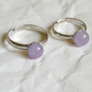 Viola pötty anya-lánya gyűrű, Szoliter gyűrű, Gyűrű, Ékszer, Ékszerkészítés, Üvegművészet, A kisméretű, visszafogott ékszerek kedvelőinek készül elsősorban a Pötty kollekció.\n\nEzek az ékszere..., Meska
