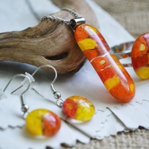 Grapefruit nyaklánc, gyűrű és fülbevaló - üvegékszer szett, Ékszer, Ékszerszett, Ékszerkészítés, Üvegművészet, Különböző méretű, sárga árnyalatú millefiori virágokból készült ékszerszett, mely nyakláncból, gyűrű..., Meska