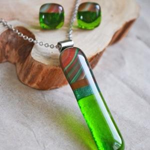 Zöld selyem nyaklánc és fülbevaló - üvegékszer szett, Ékszer, Ékszerszett, Ékszerkészítés, Üvegművészet, Meska
