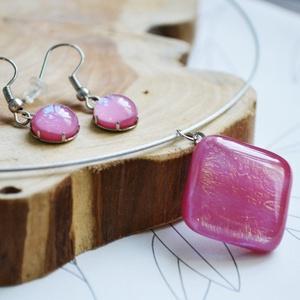 Pink nyaklánc és fülbevaló - üvegékszer szett - Meska.hu