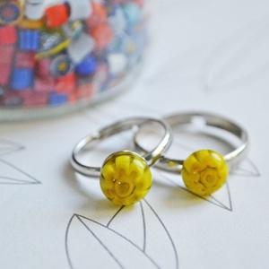 Millefiori anya-lánya gyűrű, Szoliter gyűrű, Gyűrű, Ékszer, Ékszerkészítés, Üvegművészet, Millefiori üvegből készült anya-lánya gyűrű páros.\n\nA gyerekgyűrű átmérője 16 mm.\nA gyűrűalapok nikk..., Meska