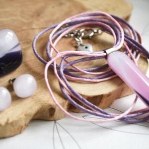 Lila köd - nyaklánc, gyűrű és fülbevaló - üvegékszer szett, Ékszer, Ékszerszett, Ékszerkészítés, Üvegművészet, Meska