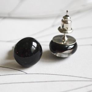 Fekete üveg fülbevaló, Ékszer, Lógó fülbevaló, Fülbevaló, Ékszerkészítés, Üvegművészet, Meska