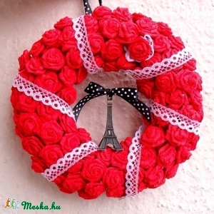 """Párizs ajtódísz piros rózsákból - rendelhető -  esküvő, ajándék, Eiffel, Otthon & Lakás, Ajtódísz & Kopogtató, Dekoráció, """"Tévelyegni emberi dolog, csavarogni párizsi."""" Victor Hugo  Ajtódísz javíthatatlan Párizs-rajongókna..., Meska"""