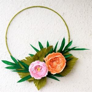 Modern romantika - minimál ajtódísz, Otthon & Lakás, Ajtódísz & Kopogtató, Dekoráció, Különleges lakásdekorációt szeretnél, ami csak Neked készül? Jó helyen jársz :).  Mindegyik rózsa eg..., Meska