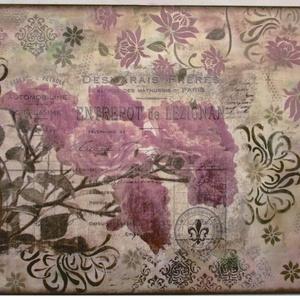 Rózsaszín álom, Otthon & lakás, Dekoráció, Kép, Festészet, Decoupage, transzfer és szalvétatechnika, 50x70 cm-es feszített vászonra készült mixed media kép vegyes technikával. Utánozhatatlan, egyedi al..., Meska