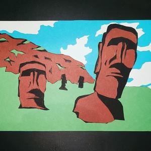 Rétegelt színes karton kép ( 20cm X 14,5cm ), Művészet, Papírművészet, A kép 20cm-szer 14,5cm nagyságú, de nagyobb méretben is rendelhető. A kép a különbőző színű kartonpa..., Meska