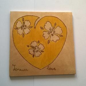 Virágos szív kép, Dekoráció, Otthon & lakás, Dísz, Lakberendezés, Falikép, Famegmunkálás, Fotó, grafika, rajz, illusztráció, Virágos szív kép egy fára álmodott képes vallomás, amely pirográf technikával készült szív ábrázolás..., Meska