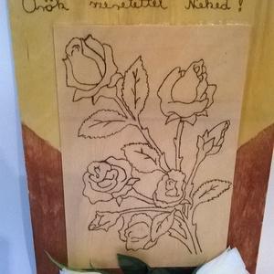 Rózsák az örökkévalóságnak kép, Kép & Falikép, Dekoráció, Otthon & Lakás, Famegmunkálás, Festett tárgyak, Rózsák az örökkévalóságnak kép a szépség maradandó lenyomata, pirográf technikával dekorált, lakkal ..., Meska