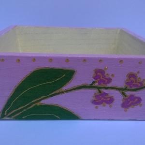 Rózsaszín orchideás tároló, Dekoráció, Otthon & lakás, Dísz, Lakberendezés, Tárolóeszköz, Festett tárgyak, Rózsaszín orchideás tároló egy mutatós kis fa tároló amelyben szem előtt tarthatjuk a fontos dolgain..., Meska