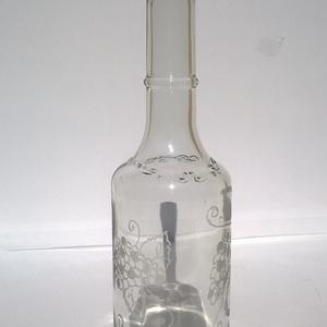 Gyümölcsös mámor üveg, Díszüveg, Dekoráció, Otthon & Lakás, Üvegművészet, Gravírozás, pirográfia, Gyümölcsös mámor üveg egy dekoratív 500 ml italos üveg műanyag dugóval, amely remek ajándék férfi is..., Meska