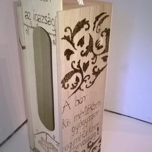 Boros italtartó doboz, Férfiaknak, Sör, bor, pálinka, Lakberendezés, Otthon & lakás, Tárolóeszköz, Famegmunkálás, Gravírozás, pirográfia, Boros italtartó doboz, egy egyedi dekoratív fa doboz, amely remek ajándék üresen vagy megtöltve egya..., Meska