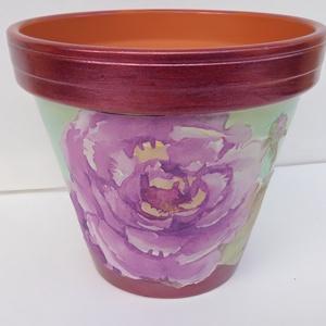 Lila rózsás kaspó, Cserép & Kaspó, Ház & Kert, Otthon & Lakás, Decoupage, transzfer és szalvétatechnika, Festett tárgyak, Lila rózsás kaspó egy dekoratív, finom színvilágú  kaspó.Akrillal, lakkal bevont, decoupage techniká..., Meska