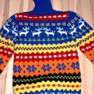 Végig mintás norvég pulóver  garbónyakkal, Ruha & Divat, Pulóver & Kardigán, Női ruha, Sára kívánságára készítek el ezzel a mintával kérésére kardigánt más színekből L -es méretre Lanagol..., Meska