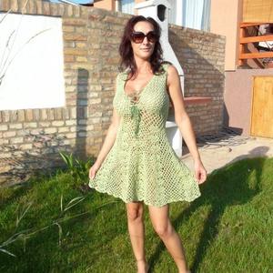 Tündéri almazöld ruha, Ruha, Női ruha, Ruha & Divat, Horgolás, 100% extra finom alma zöld pamut fonalból horgoltam ezt az elöl megkötős nyári ruhát.\nHossza 80 cm ,..., Meska