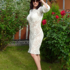 Alkalmi fehér horgolt ruha, Esküvő, Ruha, Menyasszonyi ruha, Horgolás, 100%pamutból horgoltam megrendelésre ezt a ruhát, de olyan szép lett, hogy ide is készítettem eladás..., Meska