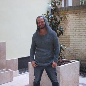 Trendi férfi pulóver, Pulóver, Férfi ruha, Ruha & Divat, Kötés, 100% extra pamutból kötöttem ezt a most nagyon divatos férfi pulóvert, ami a kapucnia, és mintája mi..., Meska