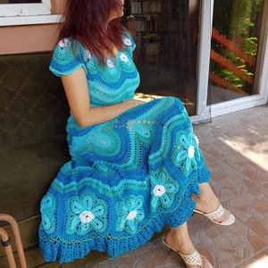 Horgolt ruha a tenger varázsában, Táska, Divat & Szépség, Női ruha, Ruha, divat, Kosztüm, Horgolás, Varrás, 100% extra finom pamutból horgoltam átküldött kép alapján ezt a ruhát, aminek színeit módosítottunk ..., Meska