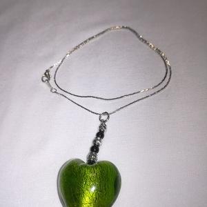 Nyaklánc üveg szív medállal, Ékszer, Fülbevaló, Ékszerkészítés, Különleges üveg szív medál nyaklánccal.\n, Meska
