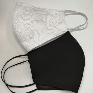 esküvőre  maszk szett, Esküvő, Ruha, Esküvői maszk, , Csipke maszk és fekete elegáns maszk szett esküvőre.\nA fekete masz szatén anyaggal bélelve , Meska