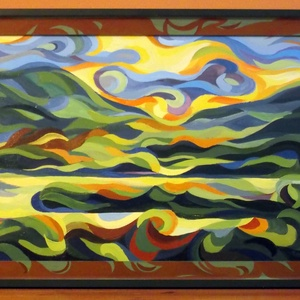 A tihanyi belső tó látképe - olajfestmény, Képzőművészet, Otthon & lakás, Esküvő, Nászajándék, Festmény, Olajfestmény, Férfiaknak, Legénylakás, Festészet, Félig absztrakt olajfestmény festett kerettel, ami a kép része. A téma visszatérő, a tihanyi belső t..., Meska