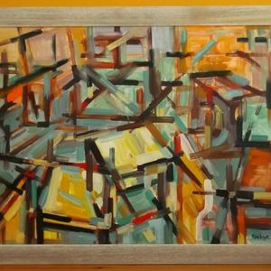 Műterem, Művészet, Festmény, Olajfestmény, Festészet, A műtermi rendetlenség érhető tetten ezen az olajképen konstruktivista felfogásban. Otthonos színek,..., Meska