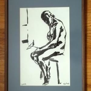Pihenő tus festmény keretezve, Művészet, Festmény, Festészet, Férfiakt ábrázolás fekete tussal. A póz és a megcsillanó fény kiemelése az érdekes, az arc rejtve ma..., Meska