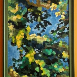 Lombok közt olajfestmény keretezve, Olajfestmény, Festmény, Művészet, Festészet, Olajfestmény, melyet 2006-ban festettem.\nEgy fa látványából indultam ki, aztán fokozatosan absztrakt..., Meska