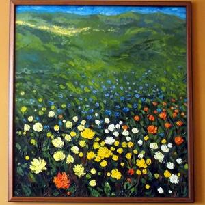 A réten - olajkép kerettel, Olajfestmény, Festmény, Művészet, Festészet, Személyes kedvencem ez a kép, mely a darabos, zabolátlan szabadságot sugallja, festőkéssel és kézzel..., Meska