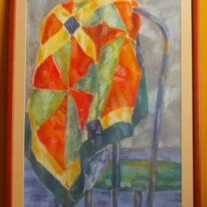 Drapéria, Művészet, Festmény, Pasztell, Fotó, grafika, rajz, illusztráció, Széktámlára terített szines terítőt ábrázoló pasztellkréta kép, paszpartu, üveg és fakeret van rajta..., Meska