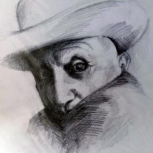 Picasso kalapban, Otthon & lakás, Lakberendezés, Képzőművészet, Grafika, Rajz, Falikép, Férfiaknak, Legénylakás, Fotó, grafika, rajz, illusztráció, Picasso fényképről. Sok kép van a művészről, nekem ez tetszik a legjobban, ezen olyan titokzatos. Fó..., Meska