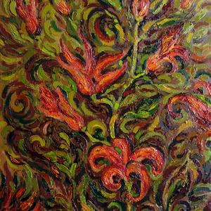 Tűzvirágok - olajfestmény, Dekoráció, Otthon & lakás, Lakberendezés, Képzőművészet, Festészet, Fotó, grafika, rajz, illusztráció, Megragadott az őszi színek harmóniája, ezt akartam kifejezni. A képen fantáziavirág szerepel, de tal..., Meska