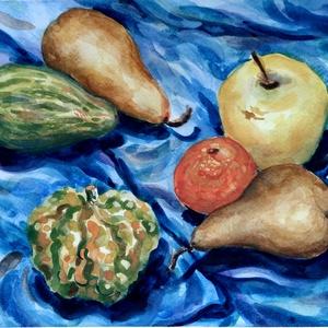 Gyümölcs és tök - akvarell keretben, Akvarell, Festmény, Művészet, Festészet, Fotó, grafika, rajz, illusztráció, Akvarell csendélet. Vidám, erőteljes hangulatú. Friss, harmonikus színvilág. \nNatúr színű paszpartuv..., Meska