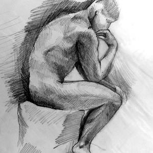 Gondolkodó- Rodin szobra nyomán, Otthon & lakás, Lakberendezés, Képzőművészet, Grafika, Rajz, Falikép, Esküvő, Nászajándék, Fotó, grafika, rajz, illusztráció, Franciaországban készült ez a rajz, a Rodin múzeumban. Oldalról rajzoltam le, meglepő volt számomra,..., Meska