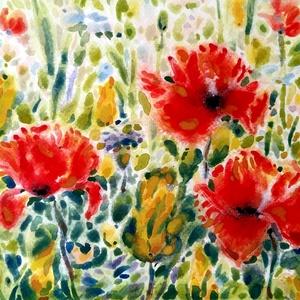 Pipacsok a párás mezőn - akvarell, Otthon & lakás, Képzőművészet, Festmény, Esküvő, Nászajándék, Gyerek & játék, Gyerekszoba, Festészet, Fotó, grafika, rajz, illusztráció, Mezei virágokat festettem foltokkal, ezzel érzékeltettem a párát, a hajnali környezetet.\nAkvarell ké..., Meska