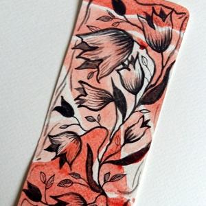Virágos akvarell könyvjelző, Könyvjelző, Papír írószer, Otthon & Lakás, Festett tárgyak, Papírművészet, Akvarell technikával készített könyvjelző, ez egy fantázia virág, nem konkrétan egy virágféle.\nA kön..., Meska