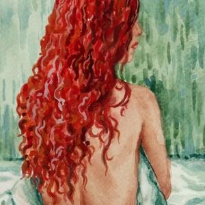 A vörös hajú, Esküvő, Nászajándék, Férfiaknak, Vőlegényes, Otthon & lakás, Képzőművészet, Festmény, Akvarell, Festészet, Fotó, grafika, rajz, illusztráció, A hajkorona színe és jellege fogott meg, ezt rögzítettem vízfestékkel. Érdekesség, hogy első munkám ..., Meska