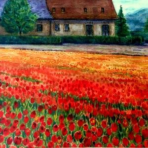 Tulipánok földjén - akvarell keretezve, üvegezve, Akvarell, Festmény, Művészet, Festészet, Fotó, grafika, rajz, illusztráció, Szeretem az élénk, meleg színeket, e virágmező jó ürügy volt hogy használjam őket...Vidám és barátsá..., Meska
