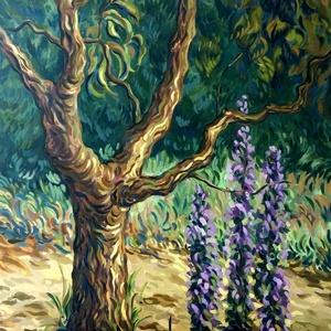 Kertrészlet, Esküvő, Nászajándék, Otthon & lakás, Képzőművészet, Festmény, Olajfestmény, Férfiaknak, Legénylakás, Festészet, Fotó, grafika, rajz, illusztráció, Életkép az egykori kertben. Ma már sem a virág, sem a barackfa sincs ott...A fa egykor sok gyümölcsö..., Meska