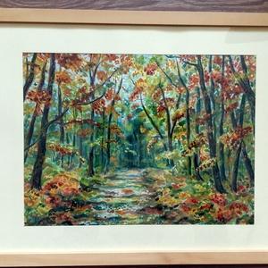 A háborítatlan erdő - akvarell, Otthon & lakás, Esküvő, Képzőművészet, Festmény, Nászajándék, Akvarell, Lakberendezés, Falikép, Festészet, Fotó, grafika, rajz, illusztráció, A/4-es méretű akvarell festmény akvarell papíron. Vidám hangulatú, energikus. Imádom az erdőt, a fák..., Meska