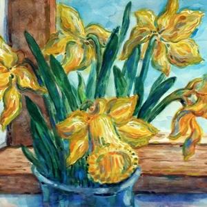 Fény mellett - akvarell keretezve, Akvarell, Festmény, Művészet, Festészet, Festett tárgyak, Akvarell technikával festettem meg egy Nárcisz csokrot, amit rabul ejt a ház és a váza. Kék és sárga..., Meska