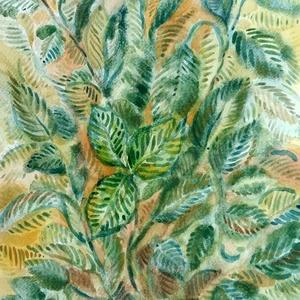 Zöld, Akvarell, Festmény, Művészet, Festészet, Fotó, grafika, rajz, illusztráció, A növények szeretete ihlette ezt az akvarellt, leveleket festettem dekoratív jelleggel.\nZöld színe m..., Meska