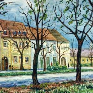 Debreceni utca - akvarell keretezve, Akvarell, Festmény, Művészet, Festészet, Fotó, grafika, rajz, illusztráció, A Szent Anna utcán készült egy fénykép és az alapján festettem akvarellel. A fák és épületek összhan..., Meska
