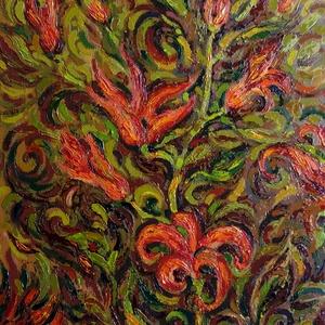 Tűzvirágok - olajfestmény, Olajfestmény, Festmény, Művészet, Festészet, Fotó, grafika, rajz, illusztráció, Megragadott az őszi színek harmóniája, ezt akartam kifejezni. A képen fantáziavirág szerepel, de tal..., Meska