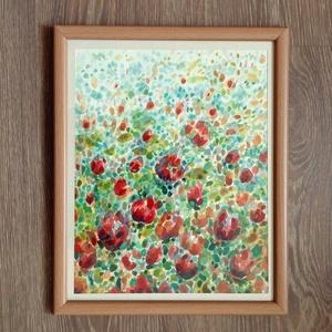 Virágfolyam - akvarell keretezve, Akvarell, Festmény, Művészet, Festészet, Festett tárgyak, Absztrakt felfogásban készült akvarell, ami egy virágos mező képzetévé áll össze. A lényeg a harmoni..., Meska