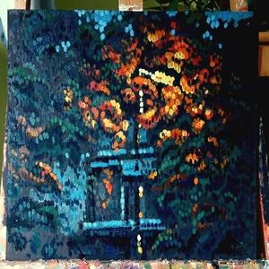 Világítás olaj festmény farost lemezen, Olajfestmény, Festmény, Művészet, Festészet, Fotó, grafika, rajz, illusztráció, Ismét ürügyet kerestem hogy foltokat fessek, a témát este fotóztam. tetszett ahogy a mesterséges fén..., Meska