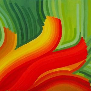 Nyiladozó - absztrakt olajkép vásznon, Művészet, Festmény, Olajfestmény, Festészet, Festett tárgyak, Absztrakt megjelenítése egy nyiladozó virágnak. Csak színcsíkokkal dolgoztam, a színárnyalatok és ir..., Meska