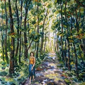 Erdei úton, Művészet, Festmény, Akvarell, Festészet, Fotó, grafika, rajz, illusztráció, Akvarell, megint erdei téma, mindig megihlet a természet. Lehet egy erdei kirándulás vagy egy erdei ..., Meska